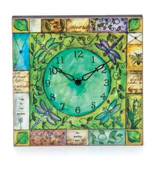 Demdaco Joyful Nest Garden Clock - Frolic in the garden, the garden gate. Battery operated: Yes. Battery included: No. Battery Quantity: 1. Battery Size: AA Cell.