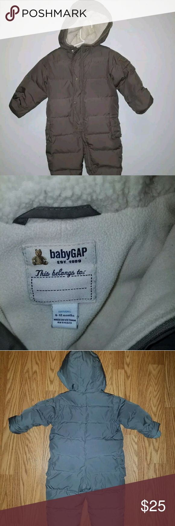 Baby gap one piece 6-12 months snow coat Really nice warm cozy snow coat gently owned 6-12 months brownish color can fleece lining GAP Jackets & Coats