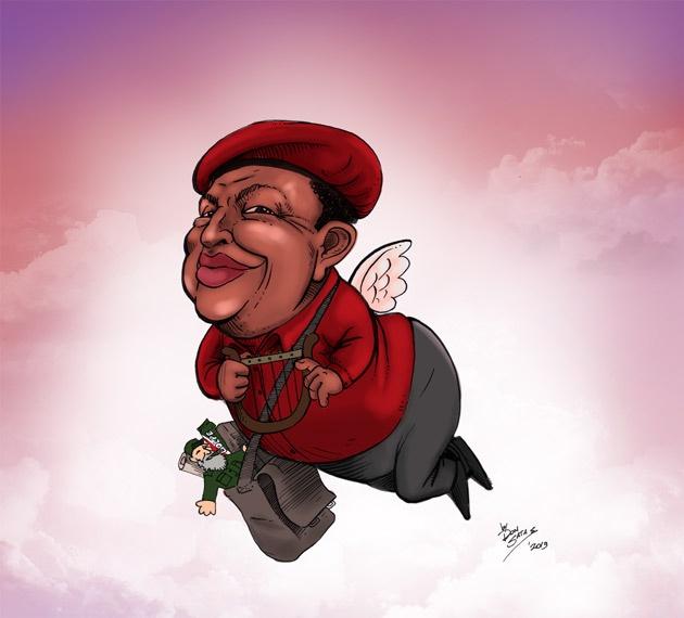 Hugo Chávez camino al cielo xD