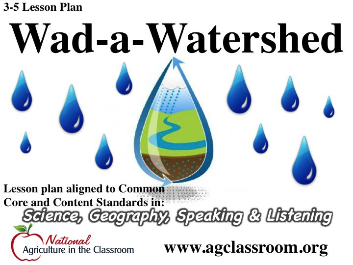 Lesson plan about the basic geography of a watershed and how it impacts the quality of our water.