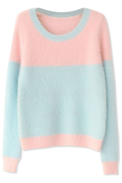 Sweet Pink Light Blue Long-Sleeves Mohair Knit Sweater