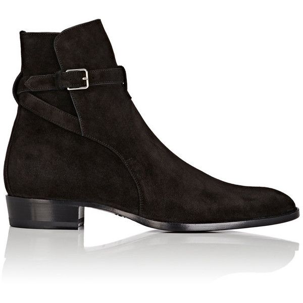 Saint Laurent Men's Suede Jodhpur Boots (1,315 CAD) ❤ liked on Polyvore featuring men's fashion, men's shoes, men's boots, shoes, black, mens leather soled boots, mens buckle shoes, mens suede shoes, mens black buckle shoes and yves saint laurent mens boots