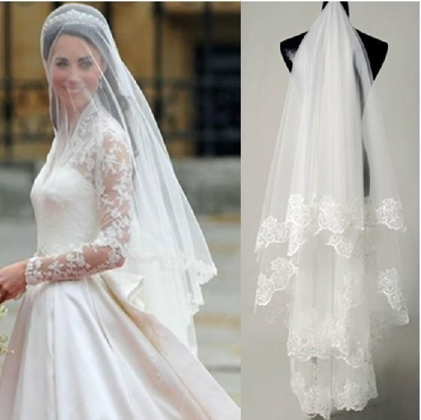 High Quality White Ivory Lace Long Trail Princess Kate Middleton Cathedral Wedding Veil 2015 Appliqued