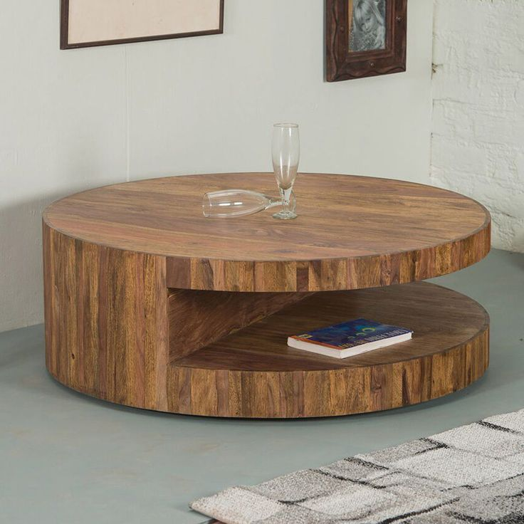 Runder Couchtisch SKIVOR Design Tisch rund Sheesham Holz im Stone Finish 90x32cm > 299,-