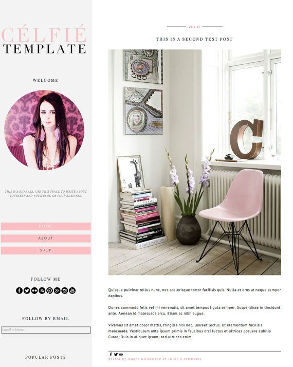 "Blogger Template Blog Theme ""Celfie Pink"" // Simple Blog Theme // Pink Gray Black// Blogger // Pre-made Blog"