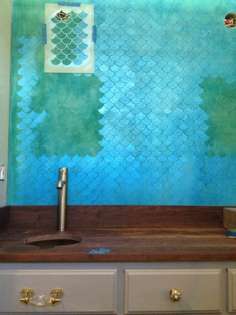 Stenciling with Flash Blue Metallic Paint for an Iridescent Finish   Faux  Tile Bath Feature Wall