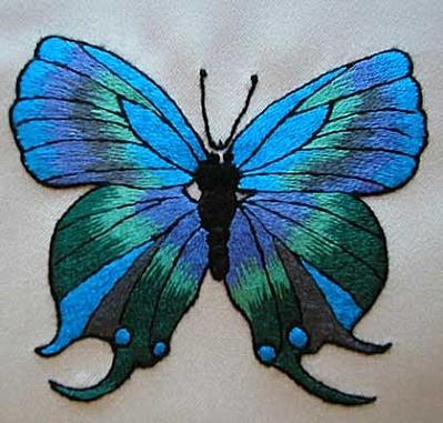 Embroidery ~ Blue butterfly - needle painting - Jocelyne Kurc