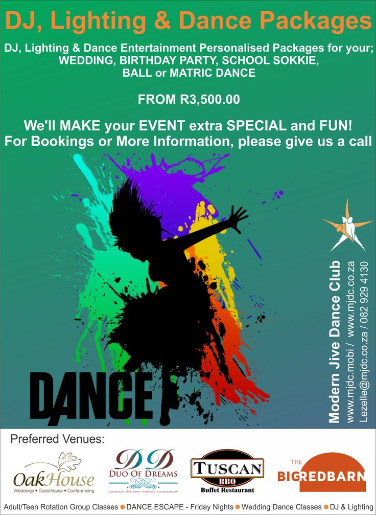 DJ, Lighting & Dance Packages / Wedding Dance Packages www.mjdc.mobi / 082 929 4130