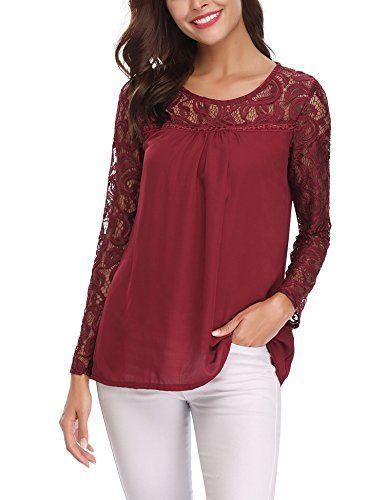 13211b40bc0a Chemisier Femme Chic Tunique Haut Femme Dentelle Manches Longues Tops  Blouse Pull Col Rond Fleuri T Shirt en Mousseline de Soie Vin Rouge X-Large