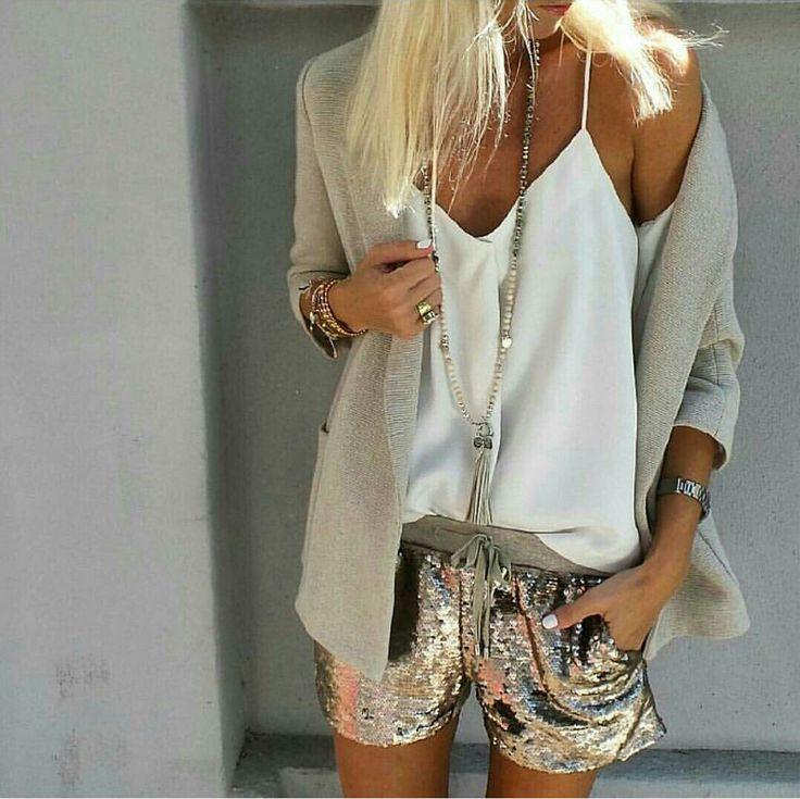 Long blazer, sparkly shorts