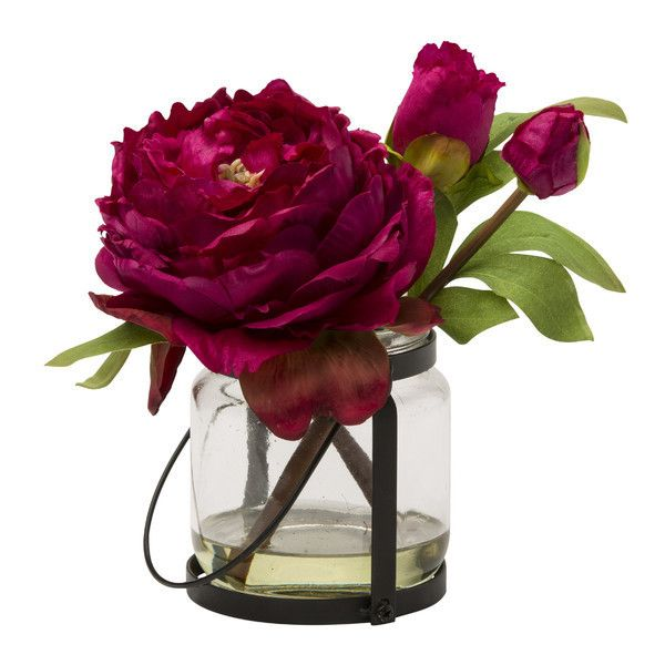 Faux Blush Peony ❤ liked on Polyvore featuring home, home decor, floral decor, fake peony arrangement, faux flowers, fake flower stems, artificial flowers and fake flowers