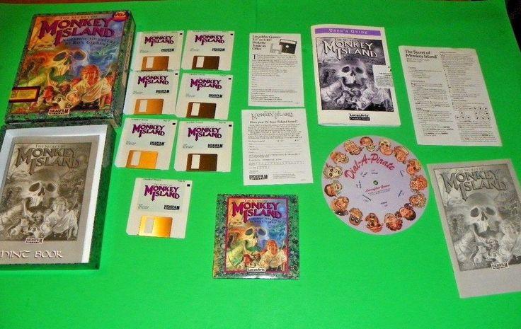 The Secret of Monkey Island IBM PC LucasArts LucasFilm + Disc Big Box Vintage