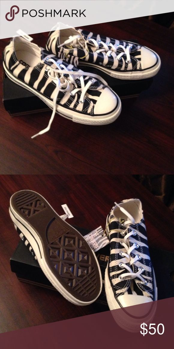 Converse womens 5 men's 3 shoes Brand-new converse lady shoes black and white striped inbox with tags Converse Shoes Sneakers