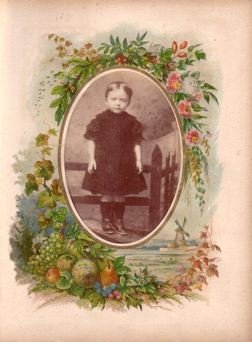 Autumn page from a Victorian photograph album. The photograph (cabinet print) is of an anxious looking small child standing on a stile ( a p...