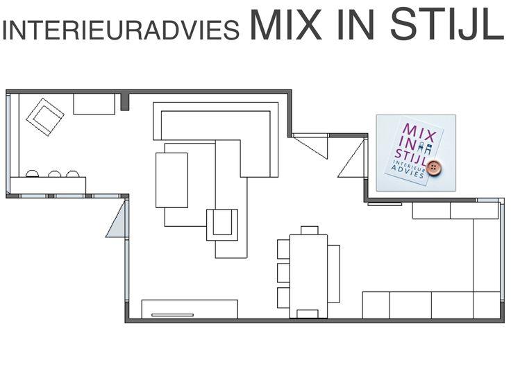 Indelingsplan Ruben & Sanne, Arnhem - interieuradvies van Mix in Stijl - www.mixinstijl.nl