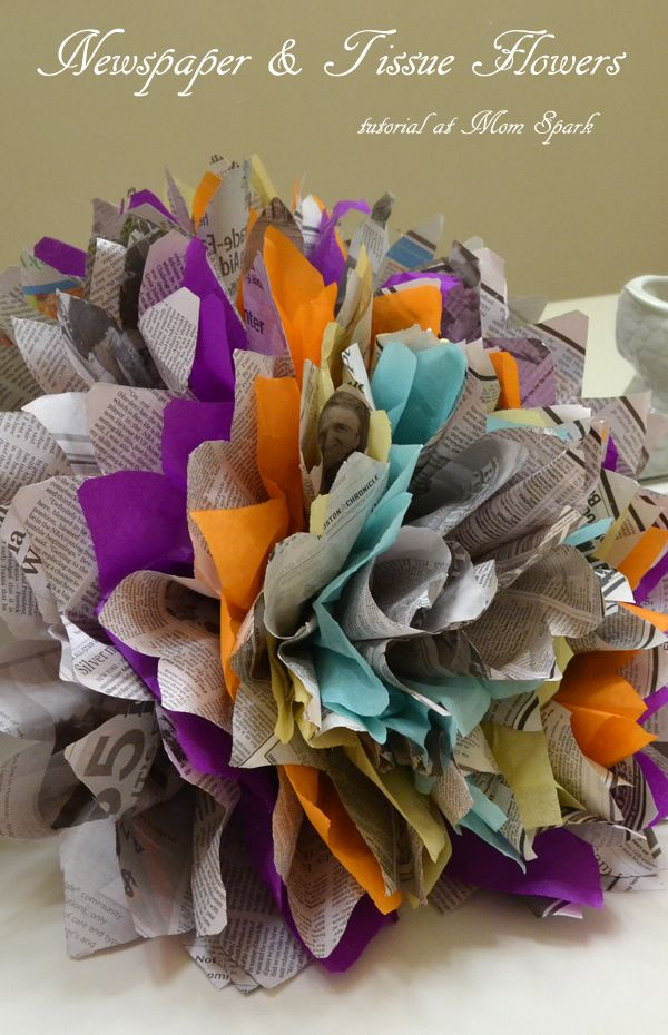 Newspaper Tissue Paper Flowers Tutorial Smart Ideas Pinterest