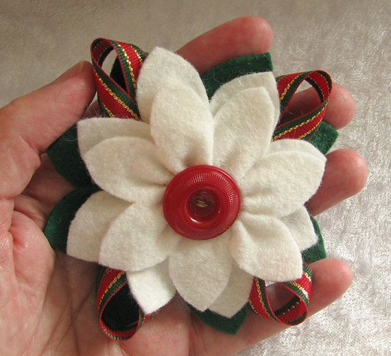 Christmas Felt Poinsettia Pin White and Green with Vintage Button and Christmas Ribbon by dorothydesigns