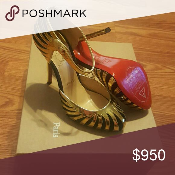 Christian Louboutin heels. Never worn Gold and black Louboutins. Christian Louboutin Shoes Heels