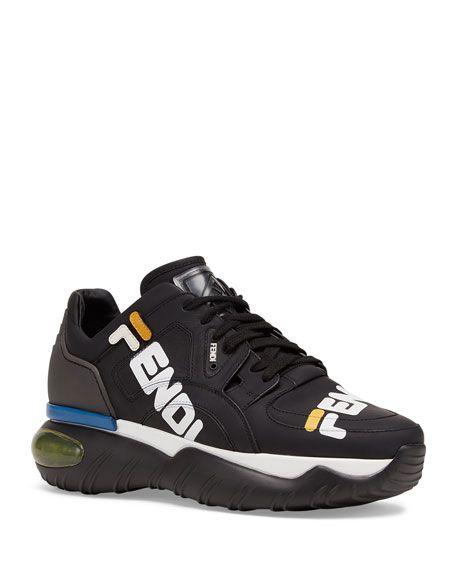 detailed look c7ec6 8649c FENDI Men s Fendi Mania Logo-Print Leather Dad Sneakers, BLACK.  fendi   shoes