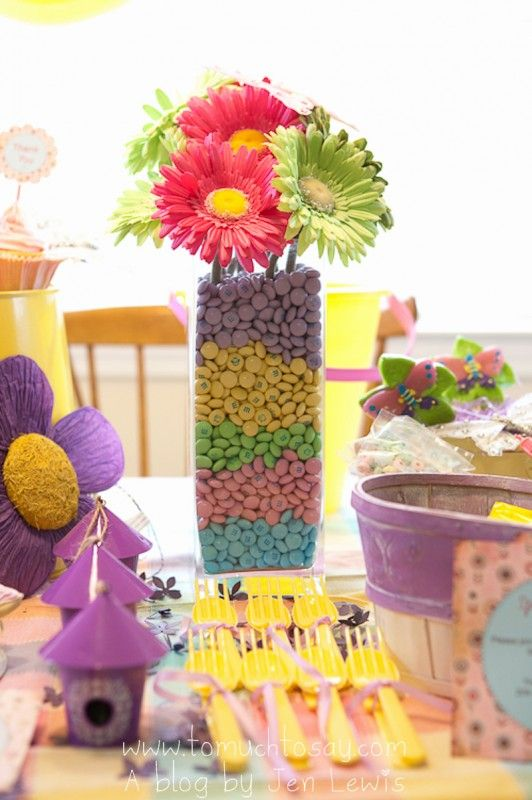 centerpiece use colored beans instead of mnm's spray paint beans wedding colors, use white daisies?