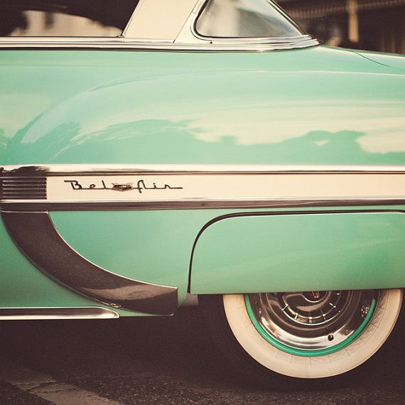 Spring Mint Green - Bel Air - Vintage Car Photograph, Mid Century Modern, Mad Men, Fathers Day, Classic Hollywood, Pastel