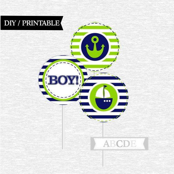 Instant Download Lime and Navy Cupcake Toppers Baby por abcdeparty
