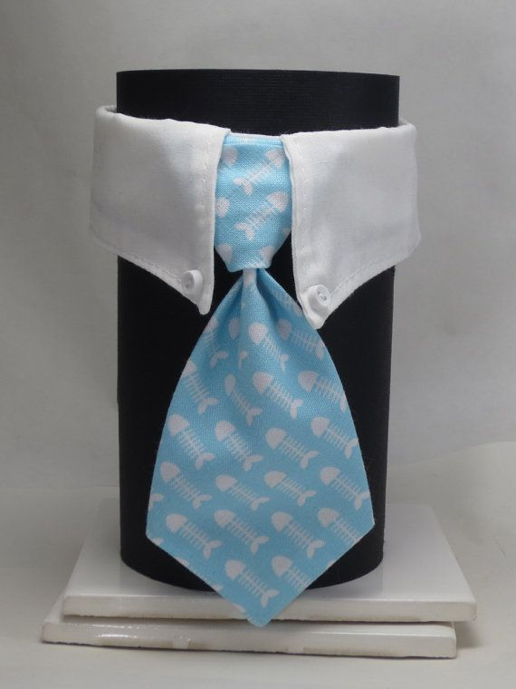 Light Blue Fish Bones Business Cat Tie and Collar on Etsy, $17.00