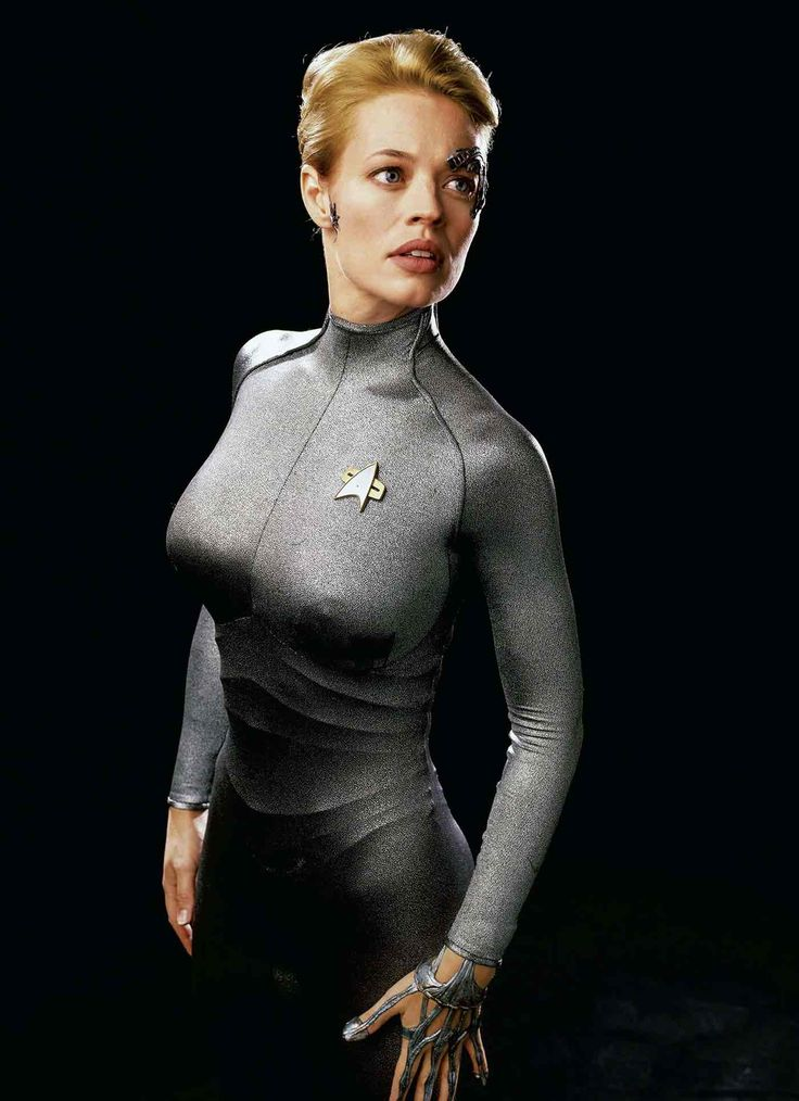 Jeri Ryan as Seven of Nine from Star Trek: Voyager in 1995.