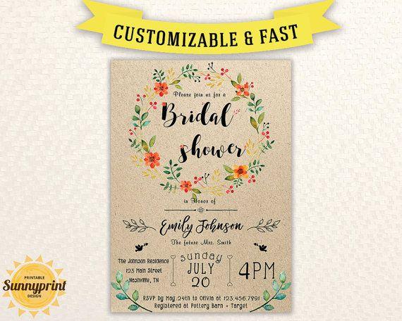 bridal shower invites bridal shower vintage bridal by sunnyprint - Vintage Wedding Shower Invitations