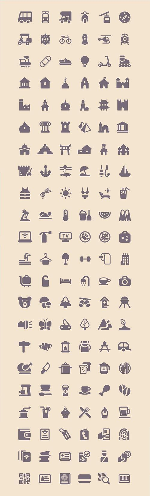 Freebie: Tourism & Travel Icon Set (100 Icons, PNG, SVG) (2.3 MB)…
