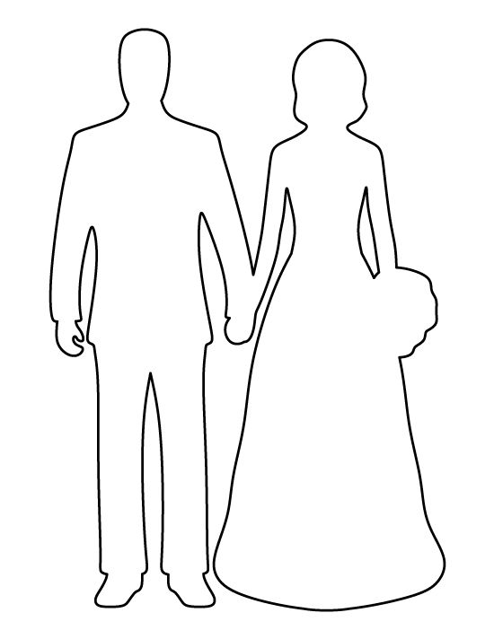 Bride and groom pattern. Use the printable outline for crafts, creating stencils, scrapbooking, and more. Free PDF template to download and print at http://patternuniverse.com/download/bride-and-groom-pattern/