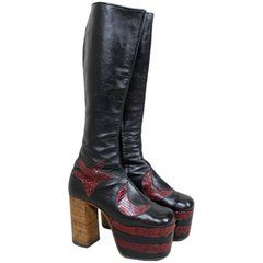 1970s Glam Rock Platform Leather David Bowie-Style Boots