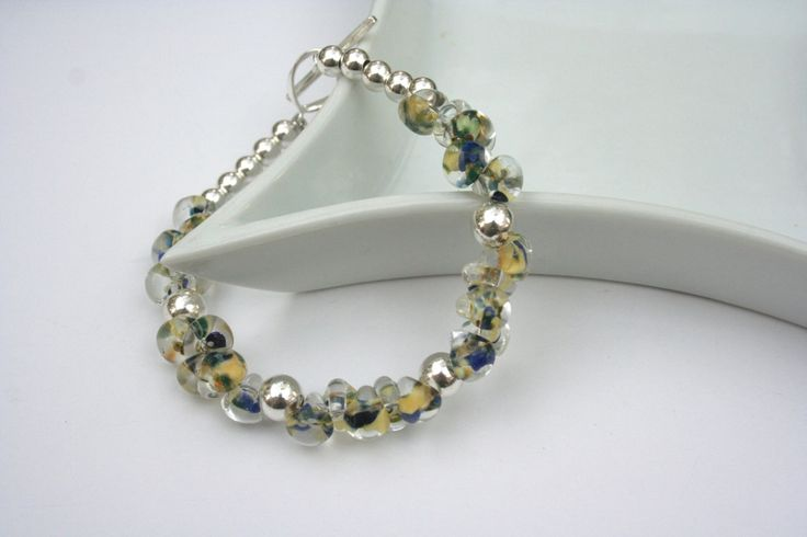 Boro and Sterling Silver Bracelet in Creams and Blues by 2BeadingHeartsJewels on Etsy