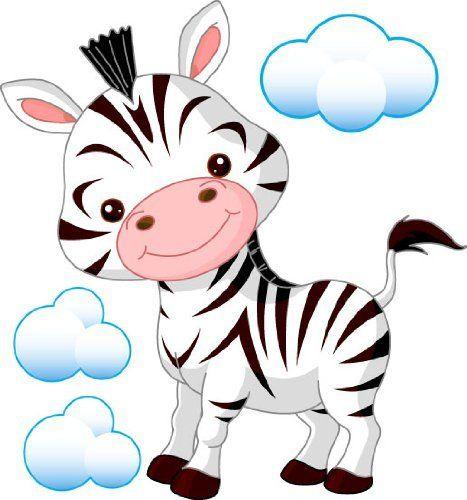 Baby Zebra Cartoon | Childrens Nursery Room Removable Wall Sticker Cute Cartoon Baby Zebra ...