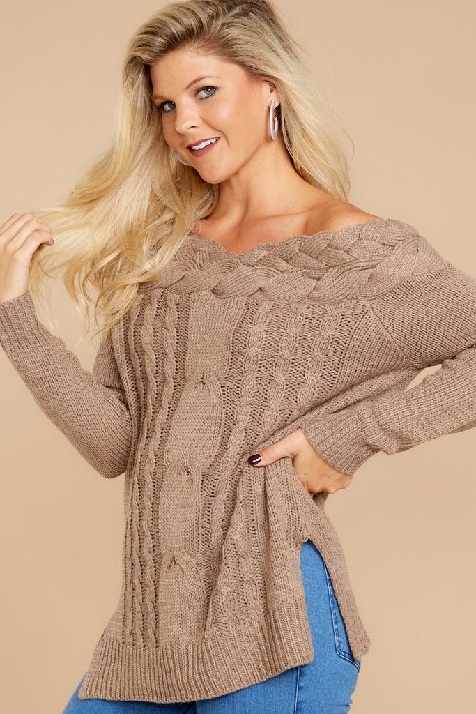 20b8f227931216 Lovely Light Brown Knit Sweater - Cable Knit Sweater - Sweater - $44 – Red  Dress Boutique