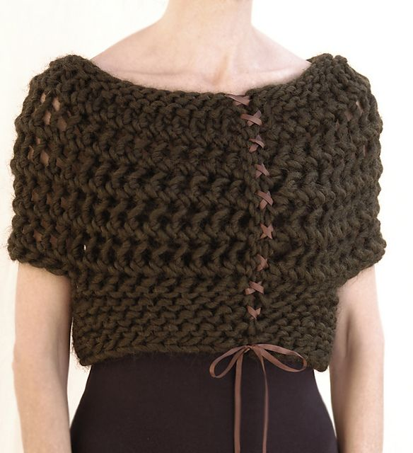 The Open Bolero by Karen Clements - this is a knitting pattern that could be adapted for crochet.