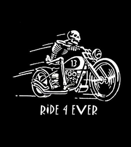 Biker-Vintage-Ride-4-Ever-Skeleton-Motorcycle-chopper-T-Shirt-M-3XL