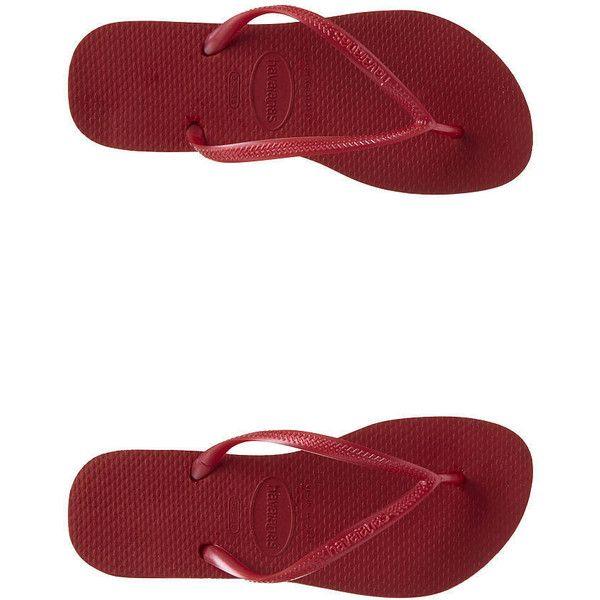 Havaianas - Slim Flip Flops ($18) ❤ liked on Polyvore featuring shoes, sandals, flip flops, red, flip flop shoes, plastic flip flops, red flip flops, havaianas sandals and summer flip flops