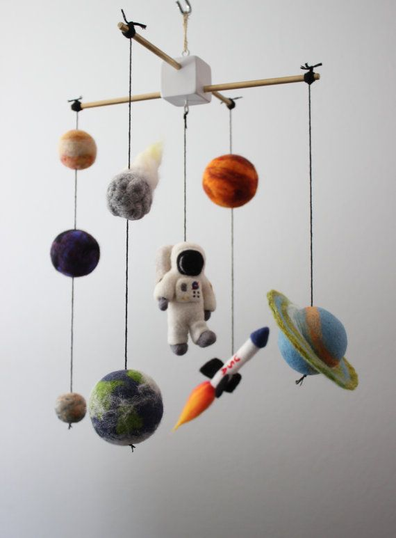 what a great make for a boys room or class room gift to a teacher Needle Felted Astronaut Space Mobile Planets Rocket by MerleyBird