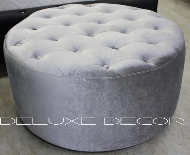 Harper Elegant Velvet Tufted Upholstered GREY Round Ottoman  http://deluxedecor.com.au/products-page/harper-collection/harper-elegant-velvet-tufted-upholstered-grey-round-ottoman-seat/