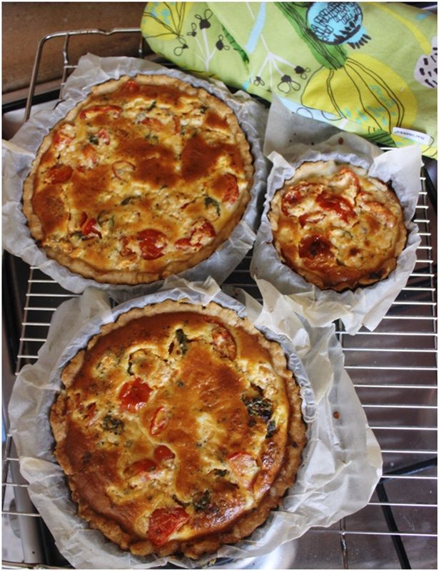 Made some pies to a friend.These had cherry tomatoes and were really yummy