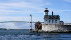 Newport Rhode Island  05/23/2014The Rose Island Lighthouse in Narragansett Bay.  Rhode Island locations. .Wiggs Topic: Reporter: