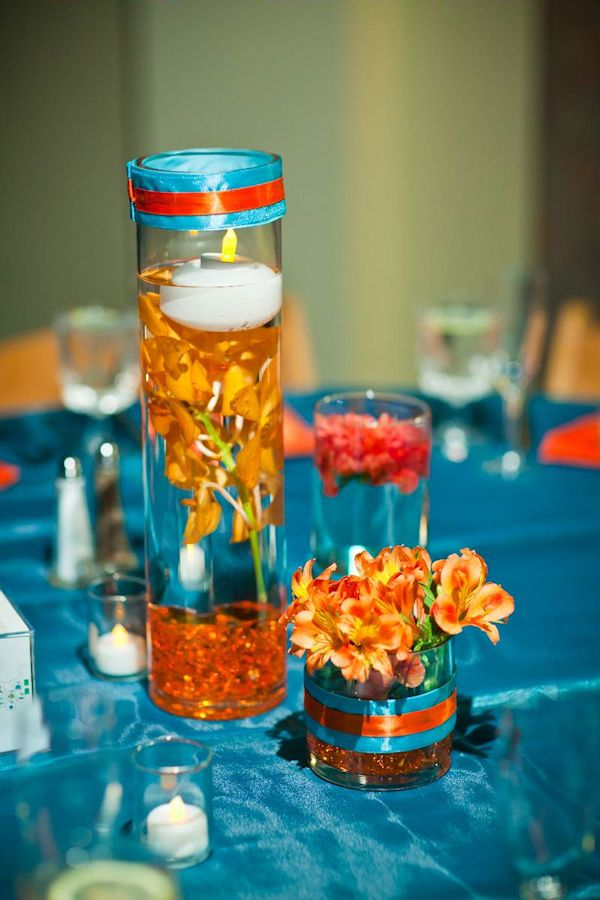 blue and orange wedding centerpieces | ... blue wedding blue wedding flowers floral centerpieces orange blue
