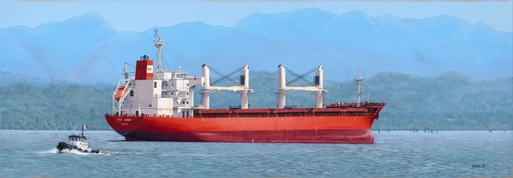 """A Ship Named Amber"" by Neil Hamelin. #seascape #contemporaryart #art #artwork #painting #acrylicpainting #realism #ship #marine #ocean #port #marineart"