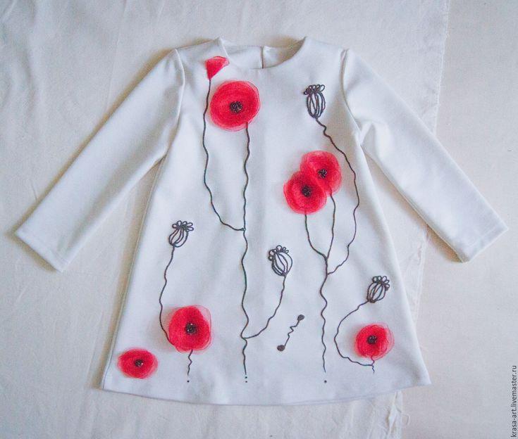 Купить детское платье Маки - белый, цветочный, молочный цвет, платье для девочки, платье для девочек