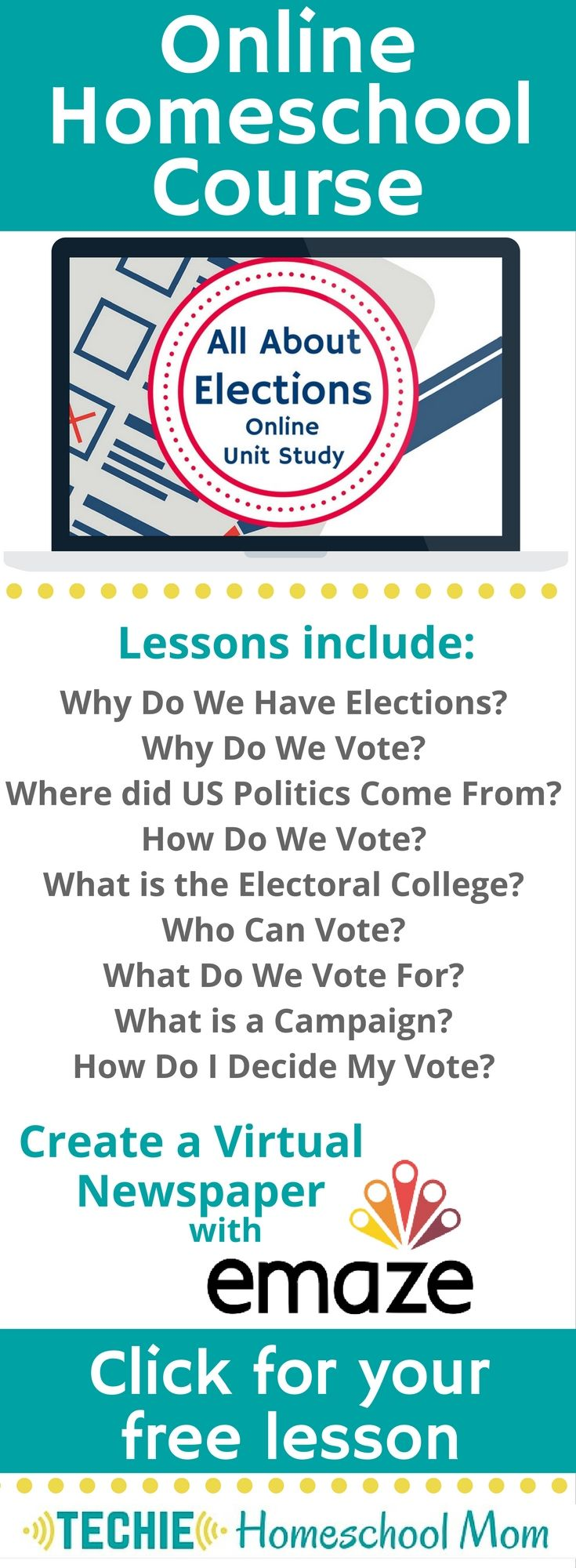 Try the All About Elections Online Unit Study. This online homeschool courses…