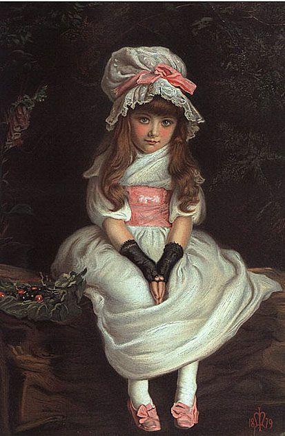 Cherry Ripe (named for a folk song) ~ 1879, by pre-Raphaelite artist, John Everett Millais