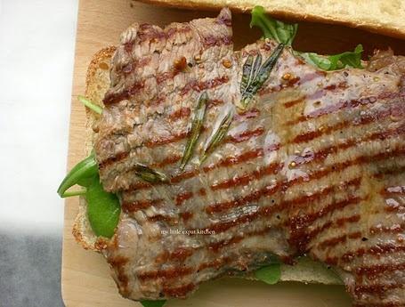 Entrecôte Steak Sandwich with Dijon Mustard and Rocket Leaves