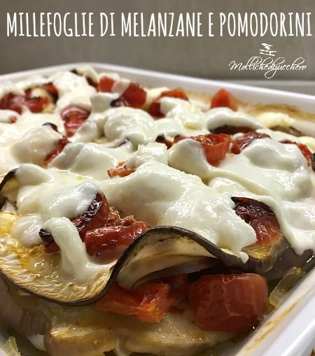 La millefoglie di melanzane e pomodorini filanti è una ricetta quasi estiva, fresca e colorata ma soprattutto leggerissima, grazie alla cottura in forno