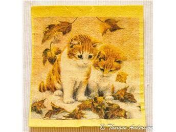 Disktrasa, diskduk 1st, dekorerade för hand, Söta katt ungar och höstlöv